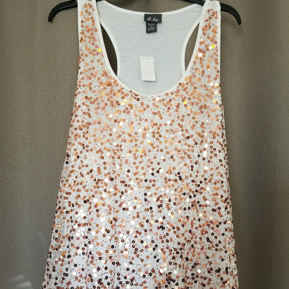 0fc8bd8f Dots Tops | 3x Nwt Rose Gold Sequined Racerback Tank | Poshmark